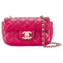 Chanel Red Quilted Charm Mini Flap Bag