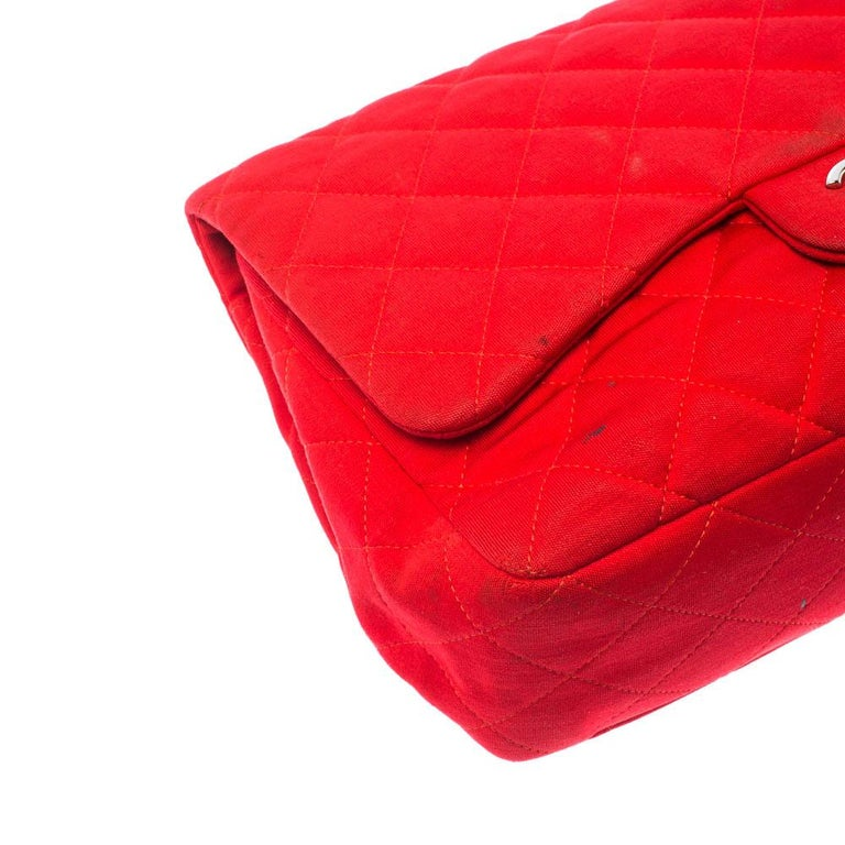 Chanel Red Quilted Fabric Jumbo Classic Single Flap Bag 6
