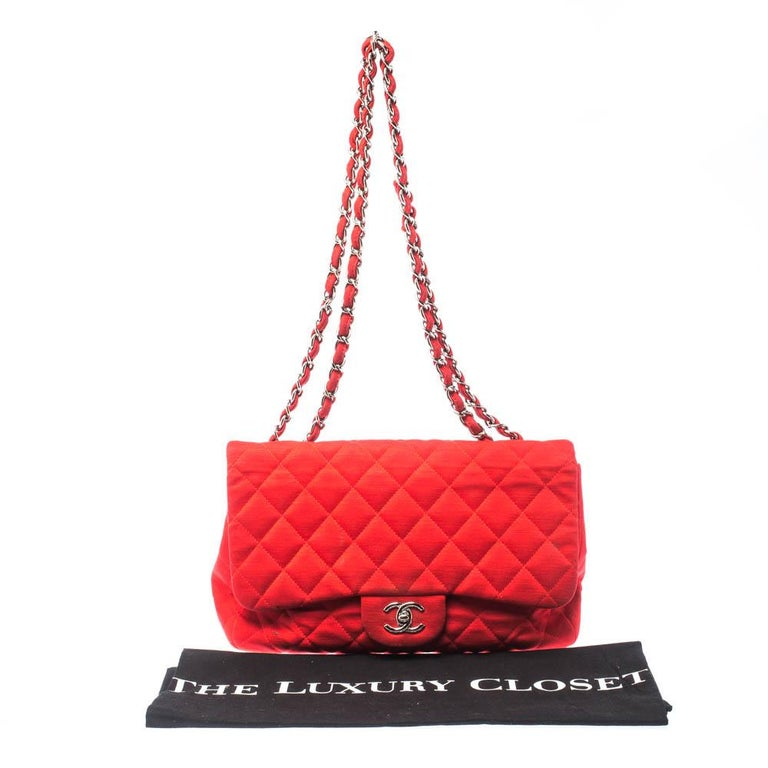 Chanel Red Quilted Fabric Jumbo Classic Single Flap Bag 7