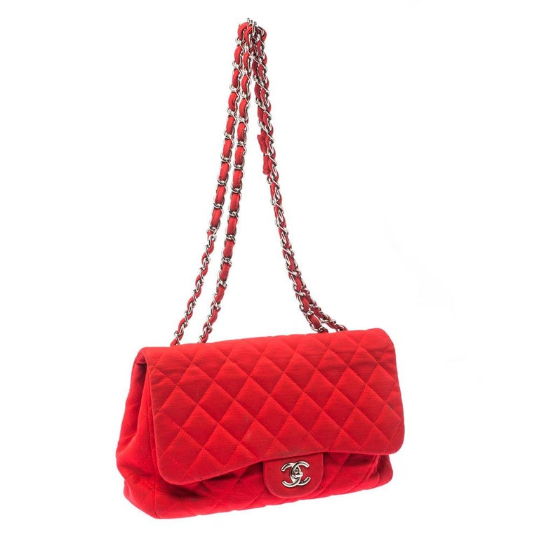 Chanel Red Quilted Fabric Jumbo Classic Single Flap Bag 3