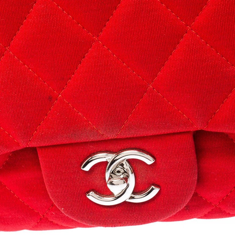 Chanel Red Quilted Fabric Jumbo Classic Single Flap Bag 4