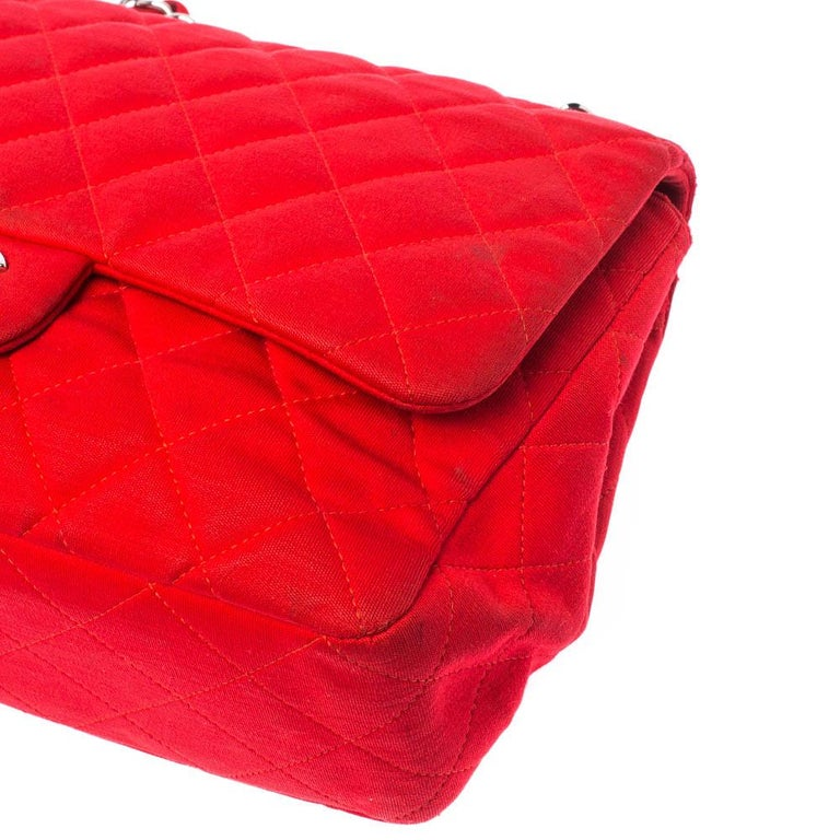 Chanel Red Quilted Fabric Jumbo Classic Single Flap Bag 5
