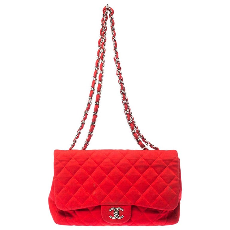 Chanel Red Quilted Fabric Jumbo Classic Single Flap Bag