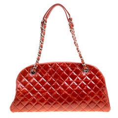 Chanel Red Quilted Glazed Crackled Leather Medium Just Mademoiselle Bowling Bag