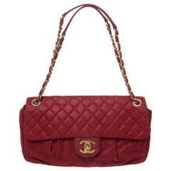 Chanel Red Quilted Iridescent Leather Chic Quilt Flap Bag