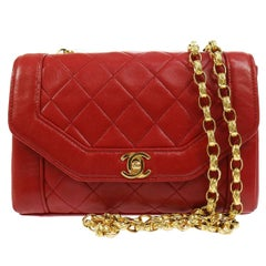 Chanel Red Quilted Lambskin  Flap Shoulder Bag