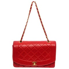 Chanel Red Quilted Lambskin Leather Diana Flap Shoulder Bag