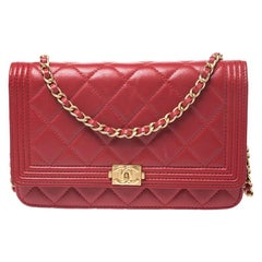 Chanel Red Quilted Leather Boy WOC Clutch Bag