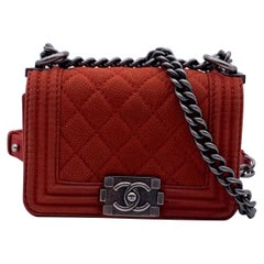 Chanel Red Quilted Leather Caviar Mini Boy Shoulder Bag