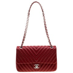 Chanel Red Quilted Leather Chevron Jumbo Classic Flap Bag