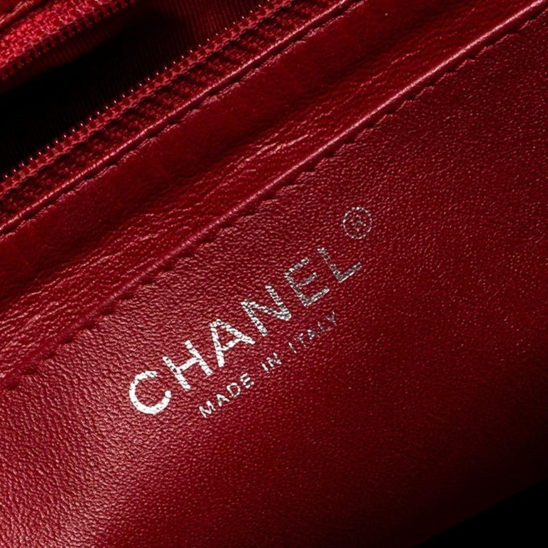 Chanel Red Quilted Leather Jumbo Classic Single Flap Bag 6