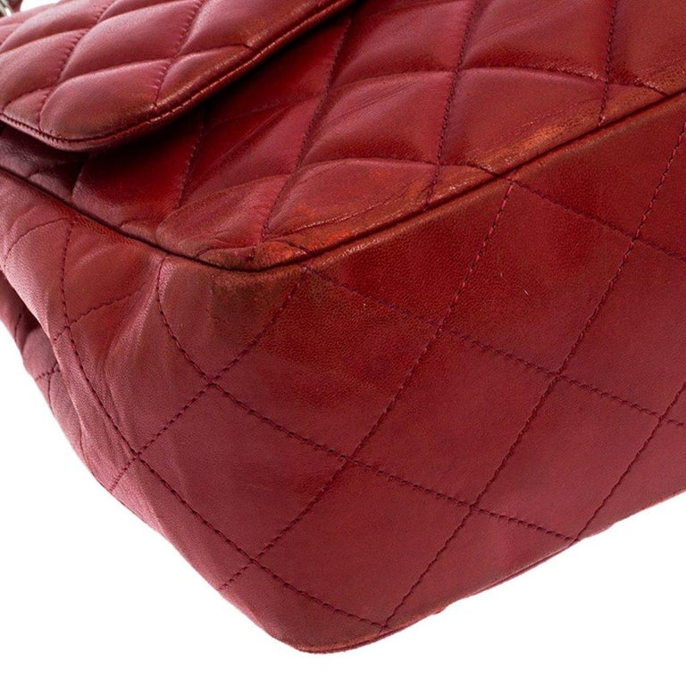 Chanel Red Quilted Leather Jumbo Classic Single Flap Bag 7