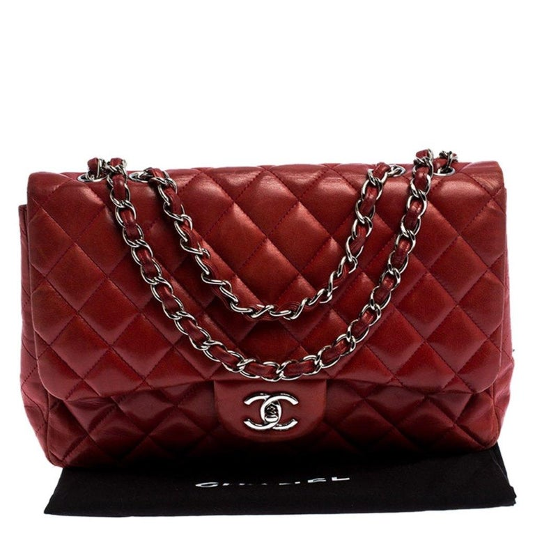 Chanel Red Quilted Leather Jumbo Classic Single Flap Bag 8