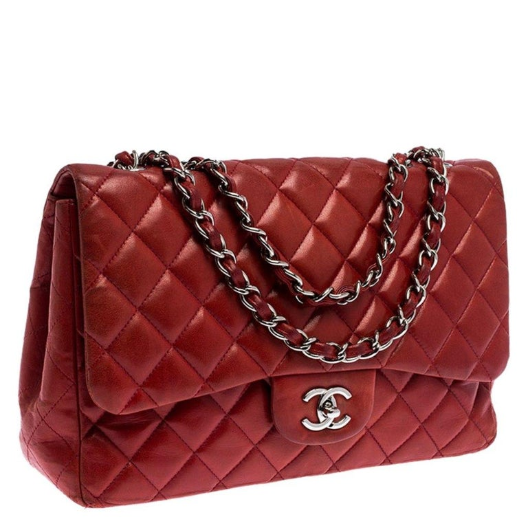 Women's Chanel Red Quilted Leather Jumbo Classic Single Flap Bag