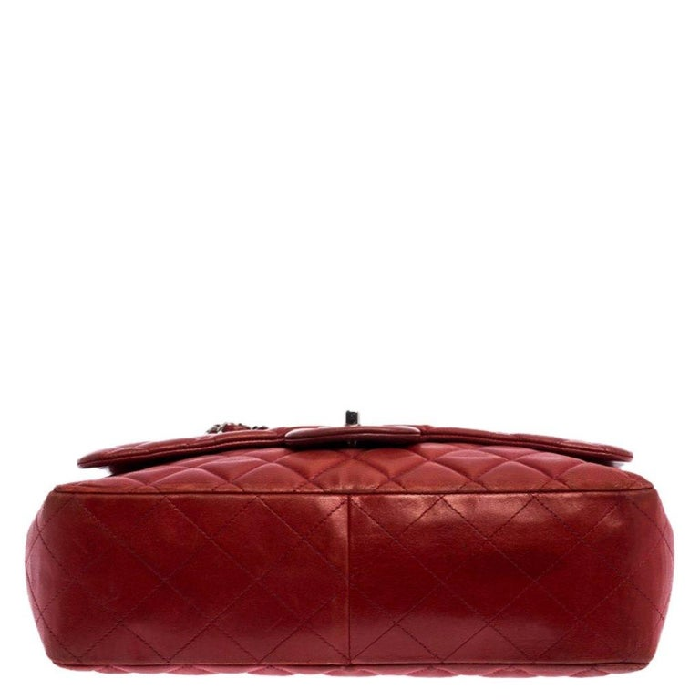 Chanel Red Quilted Leather Jumbo Classic Single Flap Bag 1