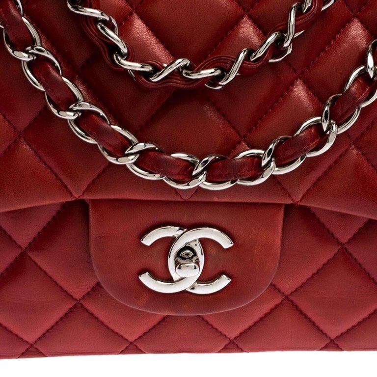 Chanel Red Quilted Leather Jumbo Classic Single Flap Bag 2