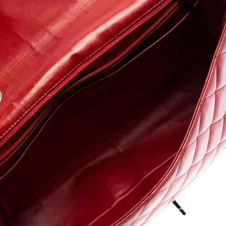 Chanel Red Quilted Leather Jumbo Classic Single Flap Bag 3