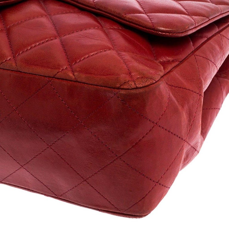 Chanel Red Quilted Leather Jumbo Classic Single Flap Bag 4