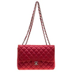 Chanel Red Quilted Leather Jumbo Classic Single Flap Bag