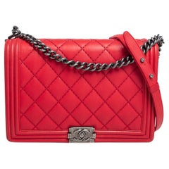 Chanel Red Quilted Leather Large Boy Bag