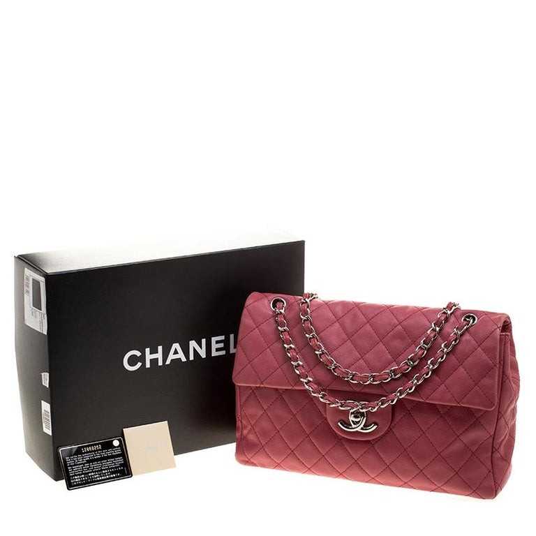 41a2799d3c0d Chanel Red Quilted Leather Maxi Jumbo XL Classic Flap Bag For Sale ...