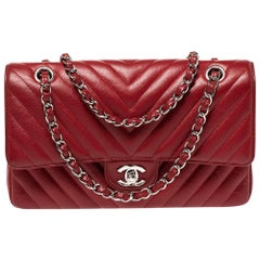 Chanel Red Quilted Leather Medium Classic Double Flap Bag