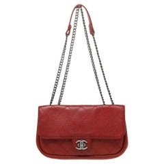 Chanel Red Quilted Leather Single Flap Bag
