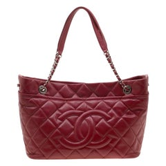 Chanel Red Quilted Leather Timeless CC Soft Tote