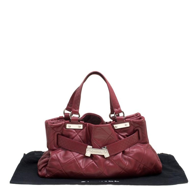 Chanel Red Quilted Leather Tote For Sale 8
