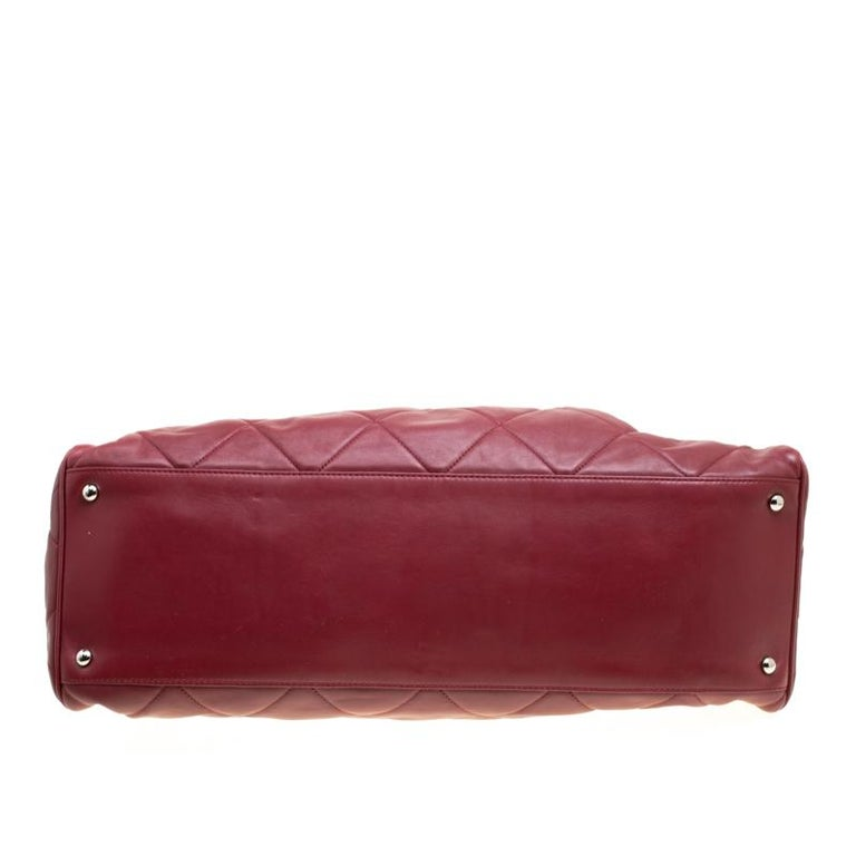 Chanel Red Quilted Leather Tote For Sale 2