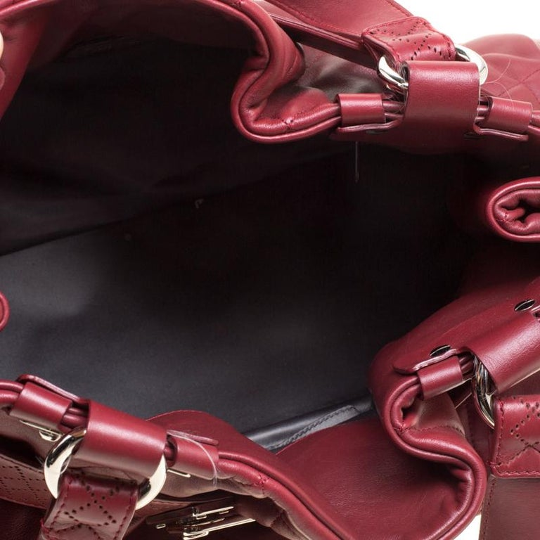 Chanel Red Quilted Leather Tote For Sale 3