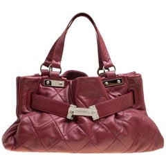 Chanel Red Quilted Leather Tote