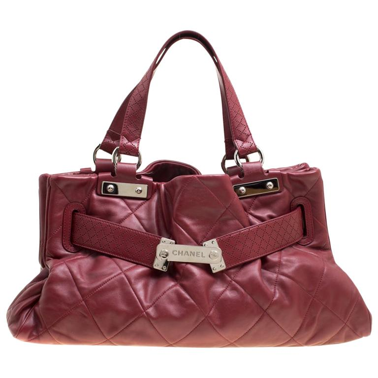 Chanel Red Quilted Leather Tote For Sale