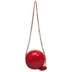 Chanel Red Quilted Leather Vintage Round Crossbody Bag