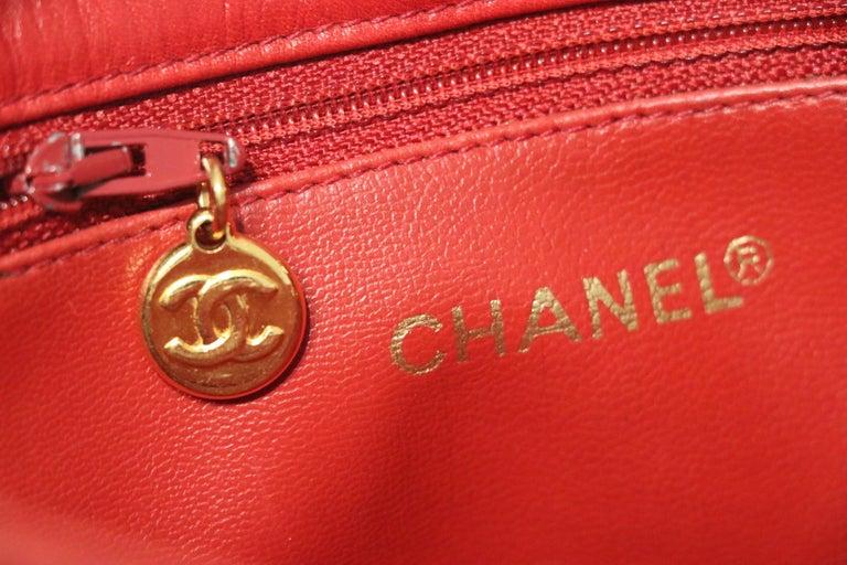 Women's Chanel Red Quilted Leather Vintage Shoulder Bag