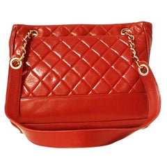 Chanel Red Quilted Leather Vintage Shoulder Bag