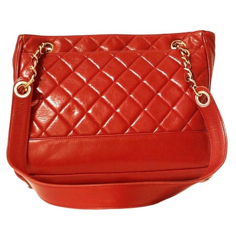 Chanel Red Quilted Leather Vintage Shoulder Bag