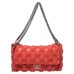 Chanel Red Quilted Leather Walk of Fame Flap Bag