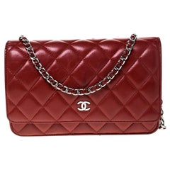 Chanel Red Quilted Leather WOC Chain Clutch Bag
