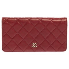 Chanel Red Quilted Leather Yen Continental Wallet