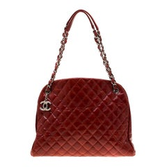 Chanel Red Quilted Patent Leather Just Mademoiselle Bowling Bag
