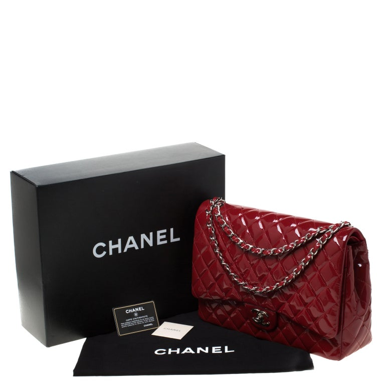 Chanel Red Quilted Patent Leather Maxi Classic Double Flap Bag For Sale 8