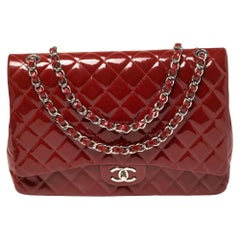 Chanel Red Quilted Patent Leather Maxi Classic Double Flap Bag