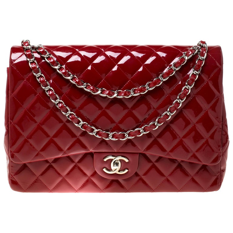 Chanel Red Quilted Patent Leather Maxi Classic Double Flap Bag For Sale