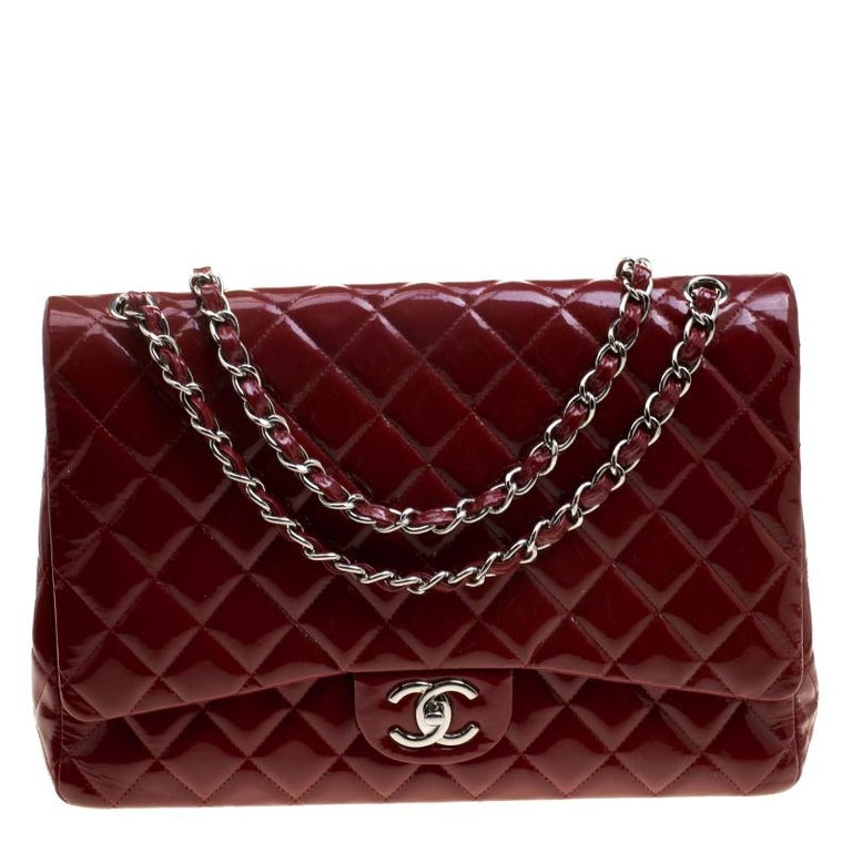 Chanel Red Quilted Patent Leather Maxi Classic Double Flap Bag For Sale 3ca54e626c