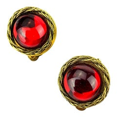 CHANEL Red Round Clip Earrings
