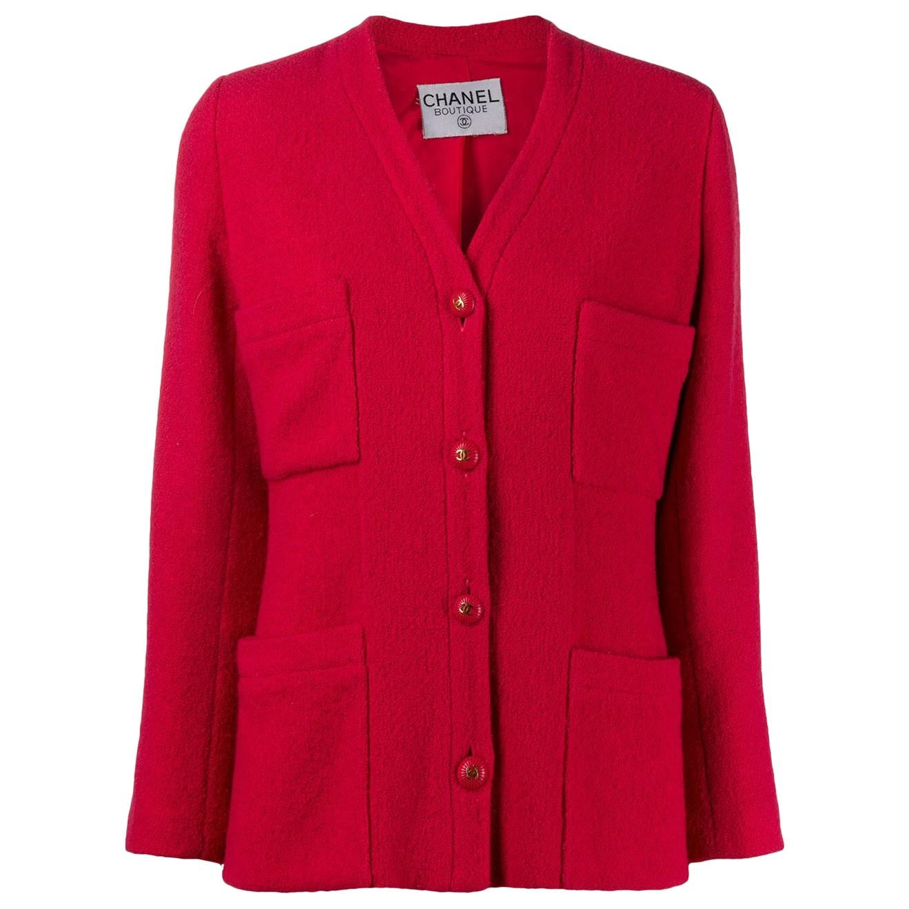 Chanel Red Strawberry Boucle Tweed Jacket