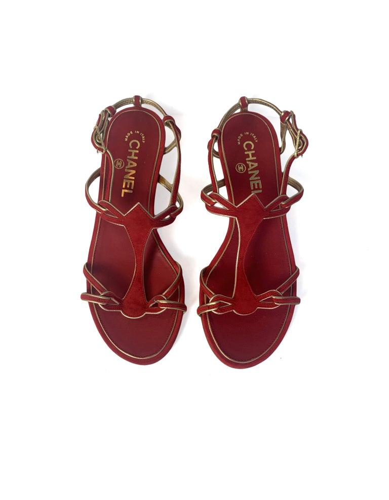 Chanel Red Suede Sandals with Gold Leather Trim sz 36 In Excellent Condition For Sale In New York, NY