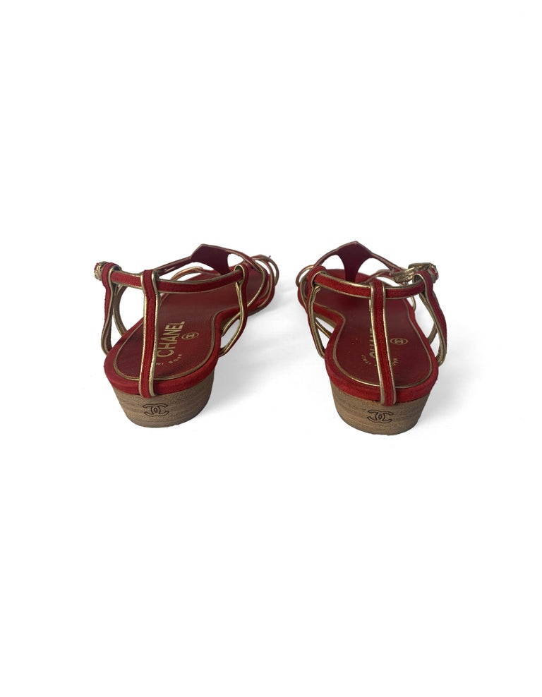 Women's Chanel Red Suede Sandals with Gold Leather Trim sz 36 For Sale