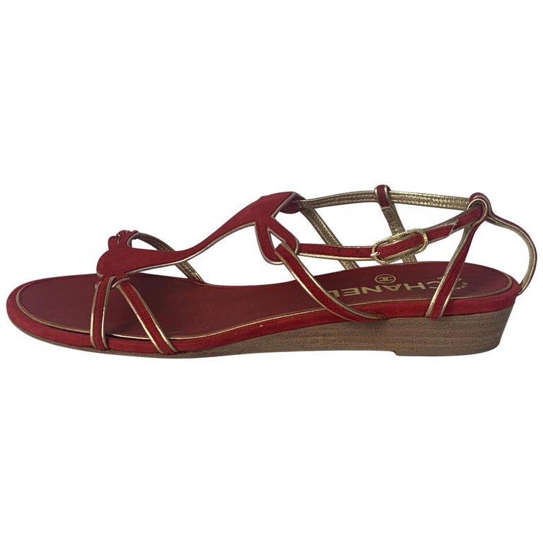 Chanel Red Suede Sandals with Gold Leather Trim sz 36 For Sale